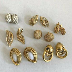 Vintage Gold Tone Clip On Earrings Large Lot of 7